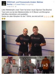 """Das """"Iron Kraft- und Fitnessstudio"""" aus Plauen bedankt sich bei ihrem Sponsor """"Brachial"""""""