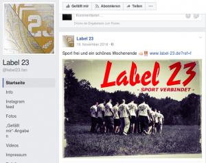"""""""Label 23"""" nimmt auf ihrer Seite Bezug auf das Spiel zwischen den Männerteams des SV Babelsberg 03 und dem FC Energie Cottbus"""