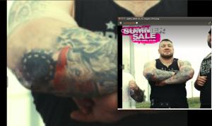 """Die Grafikabteilung von """"Label 23"""" retuschierte bewusst die Tattoos der russischen Neonazis, um Hakenkreuze u.ä. zu verbergen"""