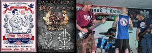 """Flyer für das """"Day of Glory"""" (links); rechts ein Bild vom Konzert im Anschluß an das Turnier"""