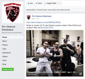"""""""Pro Violence"""" brüstet sich mit den """"Hells Angels"""" und dem Rapper Bones MC von der 187-Straßenbande"""