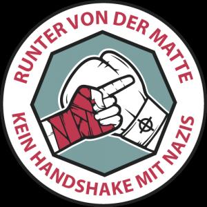 """Logo """"Runter von der Matte – Kein handshake mit Nazis"""""""