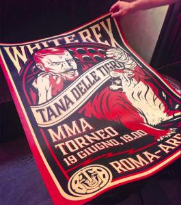 "Plakat des ""Duh Voina - Geist des Kriegers""-Event im Rahmen des ""Tana delle tigri"" 2015 in Rom"
