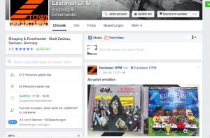 """CDs von einschlägigen RechtsRock-Bands in Hampels """"Eastware Department"""" in Zwickau (Bild: Screenshot Facebook 2016)"""