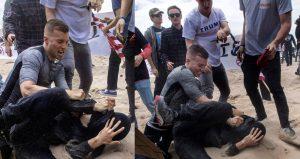 Robert Rundo bei einem Angriff auf Gegendemonstrant*innen in Huntington Beach (Bild: )
