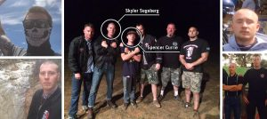 Skyler Segeberg (linke Seite) und Spencer Currie (rechte Seite) mit Abzeichen der Hammerskins (Bild: )