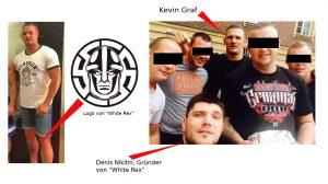 """Kevin Graf (links) mit einem Tattoo des Logos von """"White Rex"""", rechts: Graf und Denis Nikitin in Köln"""