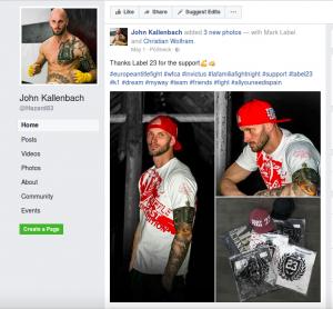 """John Kallenbach in Klamotten von """"Label 23"""" – offensichtlich sponsert ihn die Cottbuser Marke"""