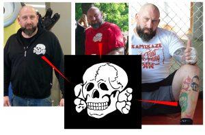 """Der Totenkopf der SS-Division """"Totenkopf"""": auf zahlreichen Klamotten von Markus Fuckner wie auch als Tattoo an der Wade"""
